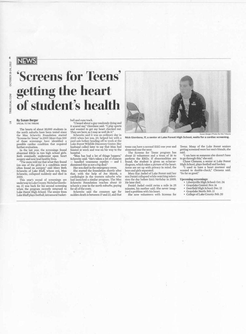 Cardiac Screens for Teens