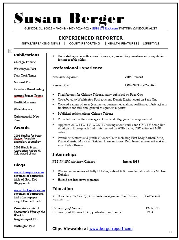 News Reporter Resume Resume Template Resume For Journalism Cover  News Reporter Resume